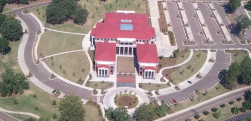 aerial image of the law school