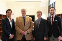 Pictured are (from left to right): Nader Jarun,3L; Professor John Czarnetzky; Professor Mercer Bullard, Institute Director; and Cory Ferraez, 3L. Jarun and Ferraez helped start the Business Law Network, the student arm of the Institute.