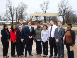Left to right:  Kellie Grizzell, Sparkle Jennings, Ashton Fisher, Jacob Waldo, MacArthur Justice Center Director Cliff Johnson, Breanna Goff, Sampada Kapoor, Rob Noland, Michael Shoptaw, and Naura Guillaume