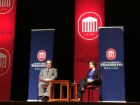 Justices Antonin Scalia and Elena Kagan at the Ford Center.  Photo by University Communications.