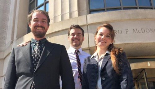 The team members Ian Perry (JD 2013, LLM expected 2015), CJ Robison (2L), and Olivia Hoff (2L)