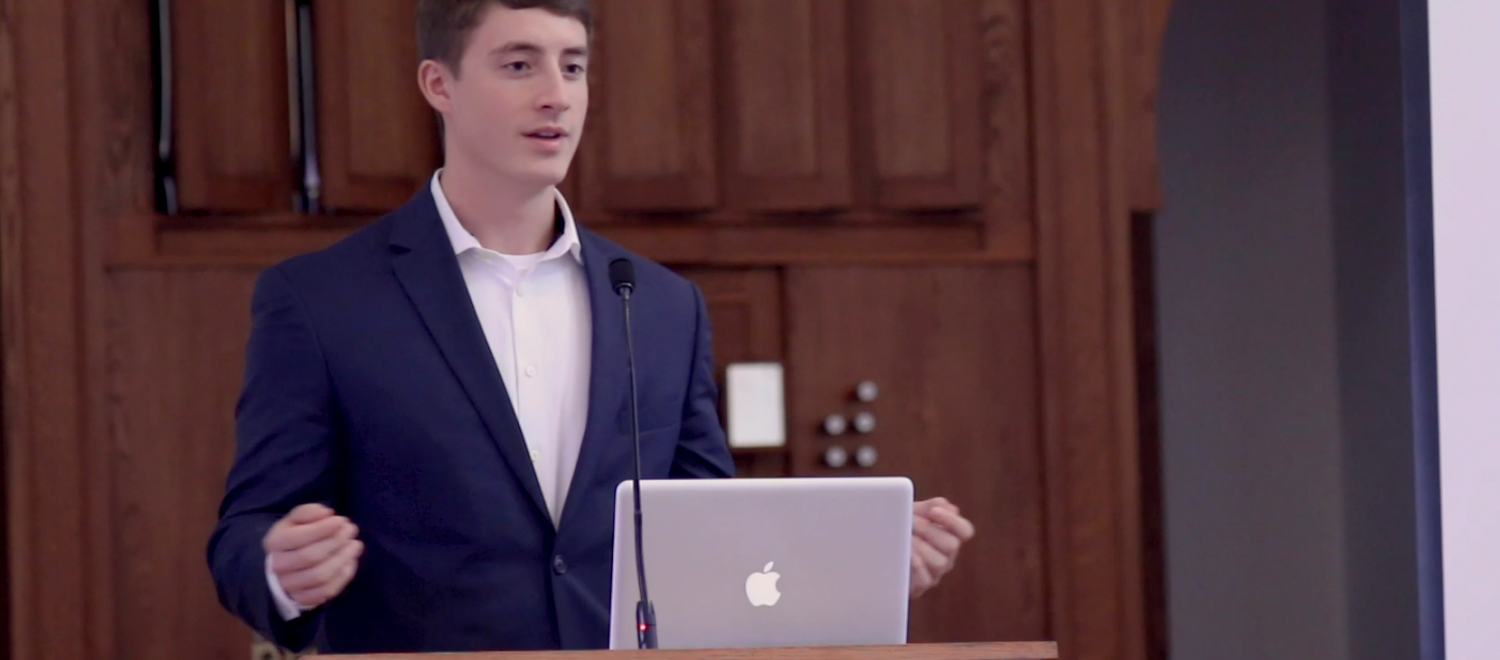 Second year law student Nathaniel Snyder spoke to congressional delegates in November at Paris Yates Chapel